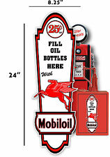 """24"""" X 8"""" MOBIL 25 cent MOBIL OIL LUBSTER front DECAL GAS PUMP, SIGN GASOLINE"""