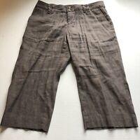 Coldwater Creek Brown Linen Blend Cropped Pants Womens Sz 10P A31