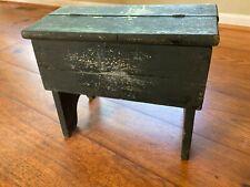 Vintage Wooden Primitive Shoe Shine Box w/ Black Worn Paint / Cricket Stool