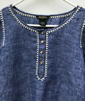 Eddie Bauer Women's Size XS Linen Blouse Embroidered Stitches 3/4 Sleeves Boho