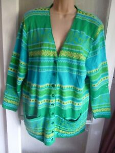 LUCIA VINTAGE FINE KNIT CARDIGAN - VIBRANT SPRING COLOURS - 19% WOOL -  16 GB