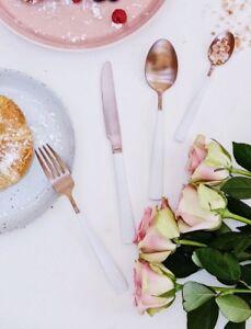 COPPER WHITE MINIMALIST CUTLERY SET/ WEDDING FLATWARE BRIDAL DINING TABLE SET
