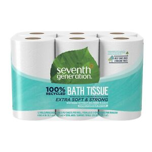 Seventh Generation Toilet Paper, Bath Tissue, 100% Recycled Paper, 12 Rolls