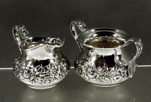 Kirk Sterling Tea Set     c1925 HAND DECORATED