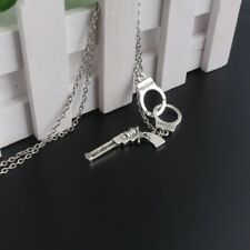 Handcuff Gun Pendant Necklace Women Girls Fashion Sweater Chain Jewelry Gifts