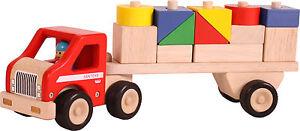 12tlg. Bauklötze auf LKW farbig verschiedene Formen aus Holz 95949 NEU
