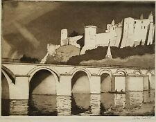 HERBERT BARNARD JOHN EVERETT SIGNED Etching & Aquatint Chinon Bridge over Vienne