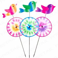 3x BRIGHT TIE DYE WIND SPINNER Lawn/Garden/Patio Decorative Windmill Stake Spike
