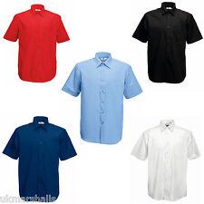 Fruit of the Loom Mens Short Sleeve Poplin Shirt - S - XXXL 5 Cols Work / Casual
