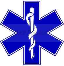 "2"" Star of Life Reflective Emergency Medical EMT Paramedic Decal MTPL Colors"