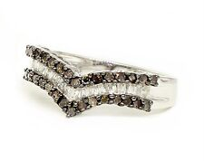 Sterling Silver Chocolate Brown & White Diamond Band Round & Baguette Ring .49ct