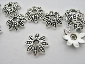 "25 Silver Bead Caps  Flower Petal 8mm (1/4"") Flower Beads Ends Caps Findings"