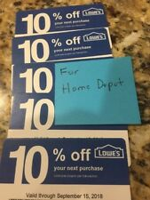 Newest Lowe's 10% Off (For Home Depot Only)Qty 5 Exp.Sept.15th