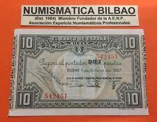 BILBAO EUZKADI 10 PESETAS 1937 MONTE DE PIEDAD @RARO@ Pick S.562 EUSKADI