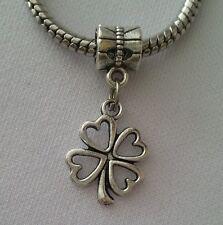 Lucky Four Leaf Clover Good Luck Dangle Bead f/European Style Charm Bracelet