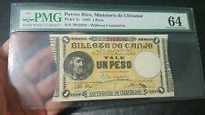 1895 Puerto rico 1 Peso Note PMG MS64 HIGHEST GRADED RARE!! P#7c Absolute GEM!