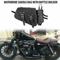 Motorcycle Side Saddle Bag Waterproof PU Leather Motorbike Luggage Bag Black UK