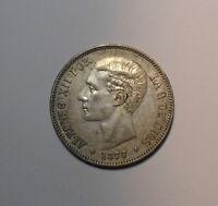 5 PESETAS PLATA 1877*77 ALFONSO XII