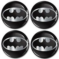 4 x 55mm Autocollant 3D Cache-Moyeux Enjoliveurs Centre De Roue Batman Logo Noir
