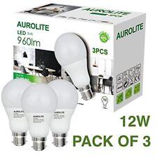 AUROLITE Pack of 3 12W LED Bulbs B22 A60 960 LM 6500K Day Light