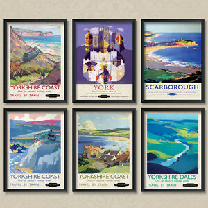 Vintage Travel York Yorkshire Scarborough Yorkshire Dales Posters - A3