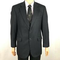 Stafford Super Suit Mens Wool Blazer 2 Button Sport Coat Jacket Black Size 40R