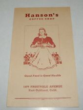 1940's Hanson's Coffee Shop East Oakland California Restaurant Menu