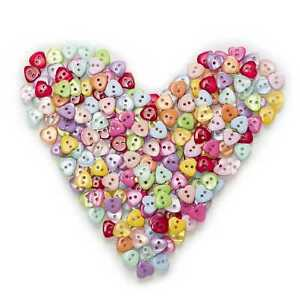 100pcs Mixed Heart Shape Resin Buttons Sewing Scrapbooking Cloth Home Decor 12mm