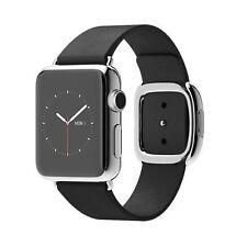 Apple Watch 38mm Stainless Steel Case Leather Black Modern Buckle - (MJYK2B/A)
