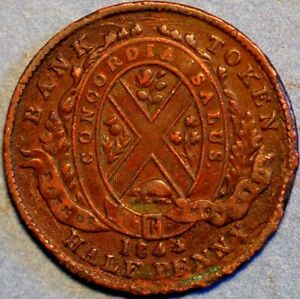 1/2 Penny 1844 Token Bank of Montreal Canada P588