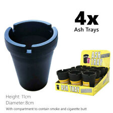 4x Black Portable Car Ash Tray Bin Holder Container Cigarette Butt Smoke Tobacco