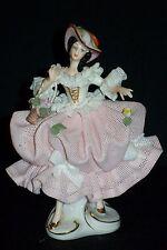 Antique German Porcelain Dresden Lace Victorian Lady Figurine w Hat & Basket
