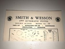 SMITH AND WESSON 9MM DOUBLE ACTION SEMI-AUTO MODEL 39 PISTOL MANUAL dated 1960