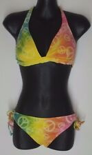 SMALL Local Motion Peace sign print tie dye Top Bottom Bikini swimsuit set
