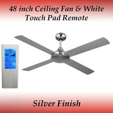 Revolve 48 Inch Ceiling Fan in Brushed Chrome with White Touch Pad Remote