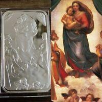 .999 Fine Silver bar Bullion  / 1 Troy oz /  the Sistine Madonna  /  G3SB1J4