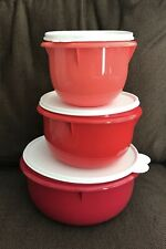 Tupperware Classic Mixing Serving Bowl Set Red New