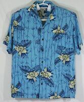 Caribbean Joe Mens XL Short Sleeve Hawaiian Shirt Blue Bamboo Floral 100% Rayon