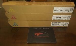 New Genuine 3 Color Ricoh Savin Lanier Toner CMY Set for Ricoh MP C3502 MP C3002
