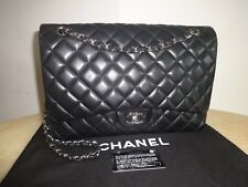 Chanel Black Leather Classic Maxi Single Flap Bag Silver Hardware Excellent