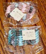 New! Lot of 2 My Style Beaded Hematite Elastic Bracelets, Pink, Blue, & Black