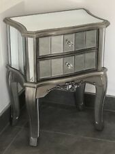 French Silver Trim Mirrored Bedside Drawers Tables Mirror 2 Drawer Cabinet