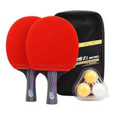 2PCS Portable Table Tennis Professional Ping Pong Racket Paddle Bat+3 Balls Set