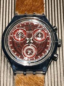 montre vintage chrono swatch neuve chronographe bracelet cuir/poil jamais portée