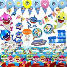 123 Pcs BABY Shark Birthday Party Decoration Supplies - Tableware Banner Favors