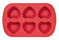 6-Cavity Ruffled Heart Silicone Mold from Wilton #4861 - NEW