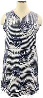 Denim & Co. 1X Navy Striped/Palm Knit Sleeveless Sheath Dress A378260