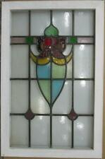 """LARGE OLD ENGLISH LEADED STAINED GLASS WINDOW Colorful Abstract 21.5"""" x 33"""""""