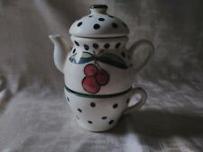 """Buckeye Stoneware """"Tea For One"""" Red Cherries Green Polka Dots Teapot and Cup"""