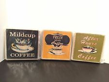 Set of 3 Wood Wall Mounted Coffee Lover Kitchen Plaques - NEW - SEALED